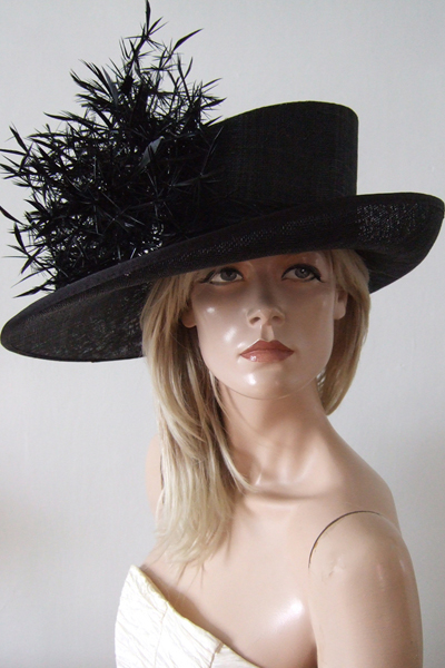 Black Downsweep Hat Hire for Ascot or Other events. Big Black Hat for Royal Ascot 2021. Royal Ascot Hat Rental 2021.