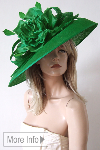 Peter Bettley Green Slice Hat. Royal Ascot Hat Hire 2021. Green Royal Ascot Hat 2021. Green Mother of the Bride Hats 2021