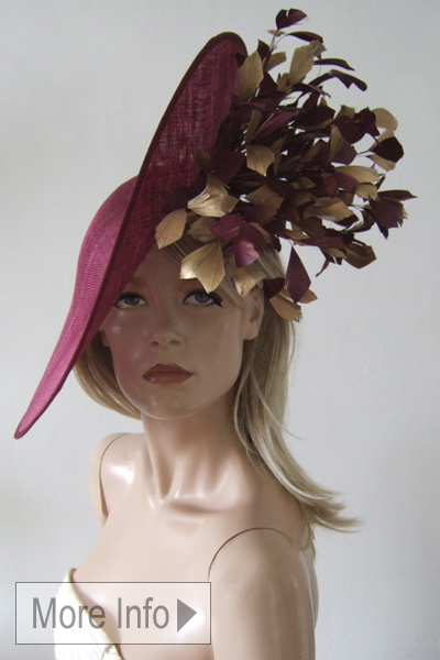 Aoife Harrison Burgundy Gold Slice Headpiece Hat. Ascot Hat Hire. Mother of the Bride Hats