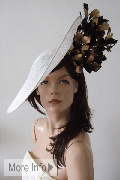 Aoife Harrison Black White Gold Slice Hat. Large Hats for the Races. Hats for Weddings. www.dress-2-impress.com