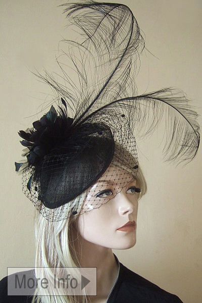 Black Fascinator for the Races. www.dress-2-impress.com Hat Hire