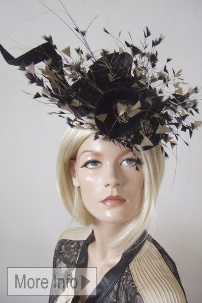 Jane Taylor Gold Black Hat for Hire. Ascot Hat Hire, Hats for Royal Ascot, www.dress-2-impress.com London Hat Hire
