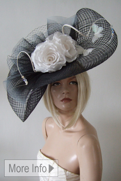 Natliya Couture Ascot Large Hat Hire. Hats for Royal Ascot Races. www.dress-2-impress.com