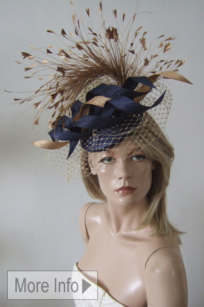 Nataliya Couture Ascot Hat. Ascot Hat Hire. Navy Gold Hats. London Hat Hire
