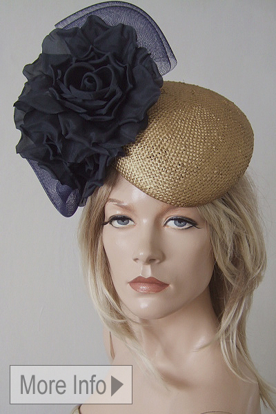 William Chamber Navy Gold Beret Hat. Ascot Hat Hire. Mother of the Bride Hats. www.dress-2-impress.com