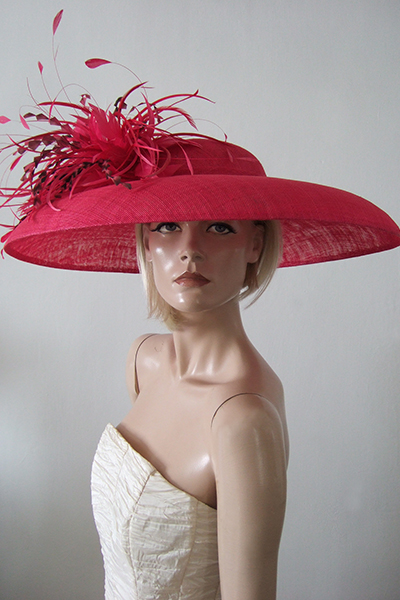 Magenta Pink Picture Hat, Audrey Hepburn Style Hat for the Races, Ascot Hats,