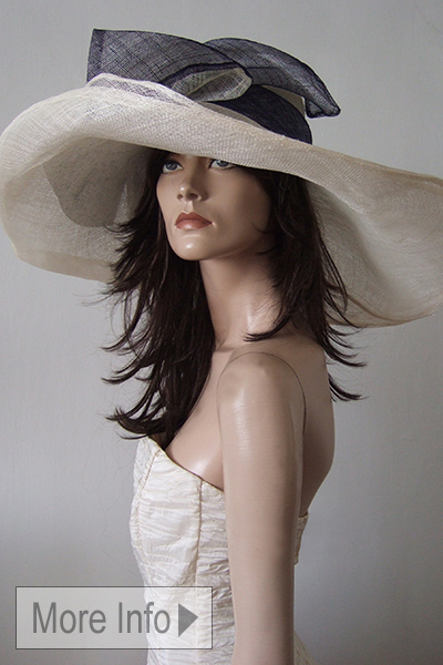 Ivory Navy Big Floppy Hat for the races or Henley Regatta. Hats for Royal Ascot 2021. What to wear for Royal Ascot. London Hat Hire. Ascot Hats