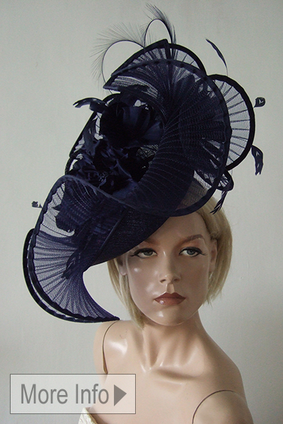 Petter Bettley Navy Crinoline Headpiece. Royal Ascot Hat Hire. Amazing Hats for Royal Ascot, What to wear for Royal Ascot