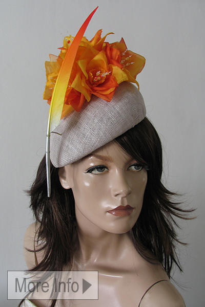Orange Yellow Silver Floral Ascot Hat Hire, Hats for Royal Ascot, London Hat Hire, Mother of the Bride Hats, Hat for Wedding. www.dress-2-impress.com