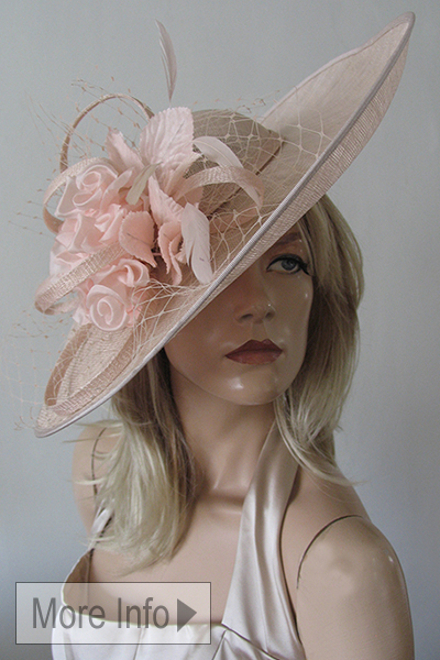 Designer Pink Ascot Hat. Ascot Hat Hire. Big Ascot Hats. Mother of the Bride Hat. Mother of the Groom Hats. Nude Fascinators. Mother of the Bride Hatinators. Hats for the Races