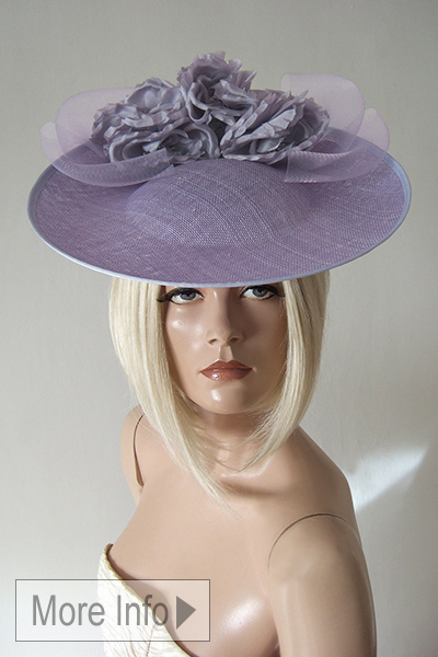 Lilac Floral Ascot Saucer Hat Headpiece. Ascot Hat Hire. Mother of the Bride Hat. London Hat Hire. Lilac Mother of the bride Hat.