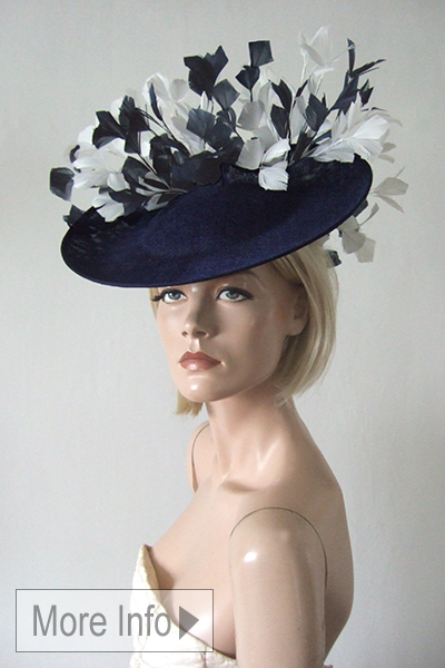Navy and White Saucer Hat. Ascot Hat Hire. Navy and White Hat for Royal Ascot