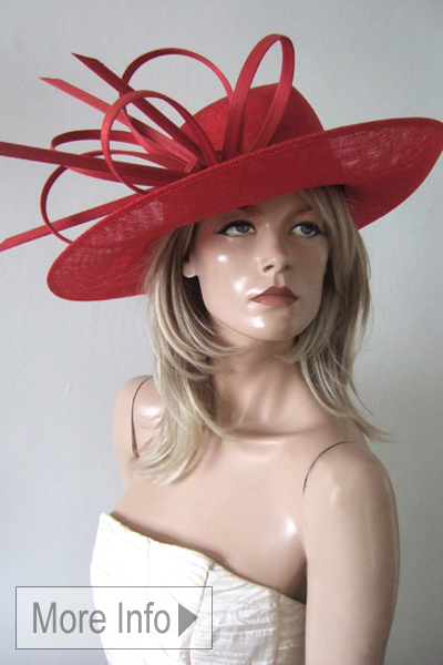 Philip Treacy Red Hats. Philip Treacy Hat Hire for Royal Ascot 2021, Red Ascot Hats. Red Mother of the Bride Hats
