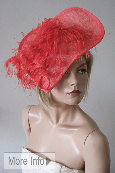Coral Fascinator Hat. Ascot Hat Hire. Mother of the Bride Hats, Mother of the Bride Outfits. Hats for weddings. Coral Hats. What to wear to the races. Mother of the Bride Hat Hire