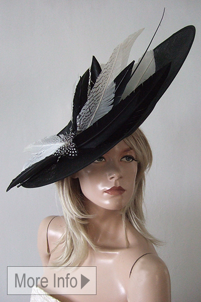 Black White Saucer Hat 2021. Black and White Hats for Royal Ascot 2021. Black and White Fascinator. Big Black White Hats 2021. Snoxells Hats. Black and White Mother of the Bride Hats 2021.