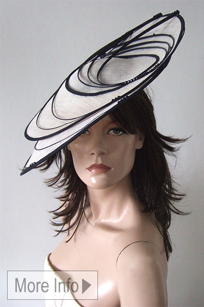 Vivien Sheriff Black White Slice Headpiece Hat. Large Hats for the Races. Mother of the Bride Hats. Hats for Weddings. www.dress-2-impress.com