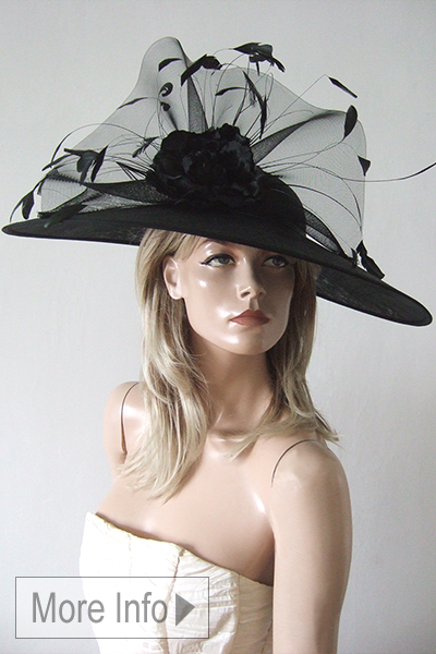 Large Black Hat for the Races 2021. Large Black Royal Ascot Hat 2021. Hat Hire Berkshire. Ascot Hat Hire. Hat Hire near London 2021. Berkshire Hat Hire