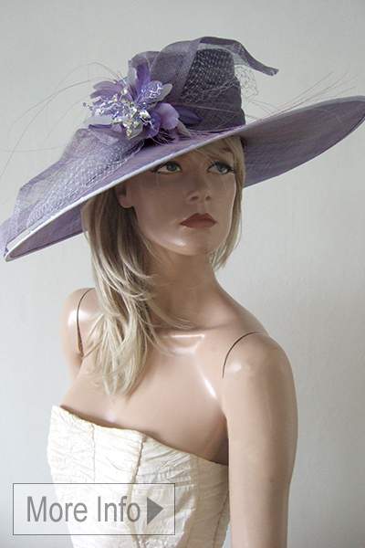 Lavender Mother of the Bride Hat for Hire, Royal Ascot Hats 2021. Mother of the Bride Hat Hire 2021. Hire Mother of the Bride hats online 2021. Big Mother of the Bride Hats 2021. Hat Hire Berkshire