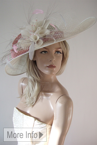 Silver and Dusty Pink Hat for Ascot 2021. Big Hats for Royal Ascot Races 2021. Hats for Henley. Hats for Epsom Races 2021. Dusty Pink Mother of the Bride Hats 2021. Big Mother of the Bride hats 2021. Mother of the Bride Hat Hire 2021.