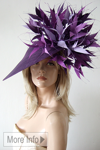 Hostie Hats Bamburgh Dish Hat. Big Hats for Royal Ascot 2021. Purple Hats for Royal Ascot 2021. Purple Mother of the Bride Hats. Mother of the Bride hat Hire 2021. Designer Hats for Royal Ascot 2021. Royal Ascot Hat Hire 2021. Big Mother of the Bride Hat. London Hat Hire. Purple and Lilac Mother of the Bride Hat.