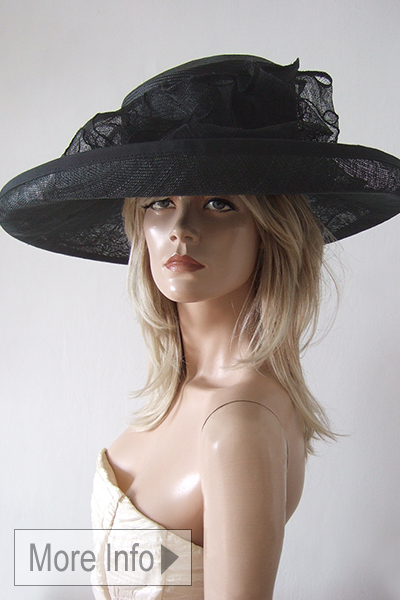 Black Wide Brim Hat for the Races. Large Black Hat for Royal Ascot 2021. Black Hats for Epsom Races. Hats for Grand National 2021. Hats for York Races.