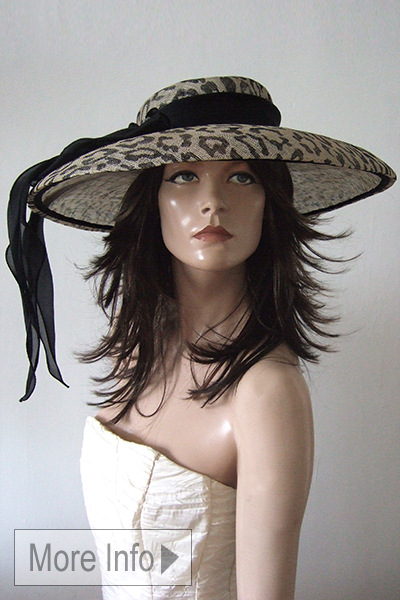 Leopard print Hat. Hat Hire Berkshire. Royal Ascot Hat Hire. London Hat Hire. Marzi Hats
