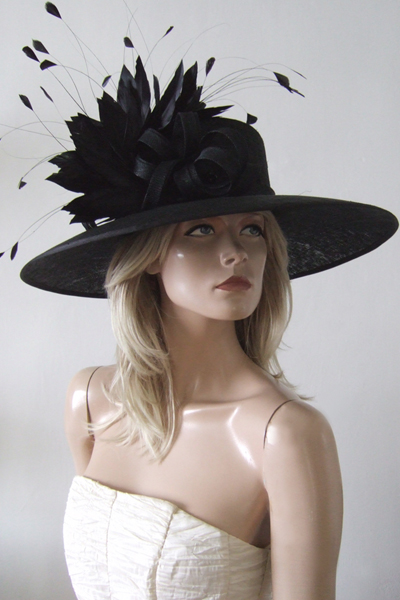 Big Black Hat for Hire for Royal Ascot 2021. Hats for Epsom Races 2021. Hats for the Grand National 2021. Mother of the Bride Hats