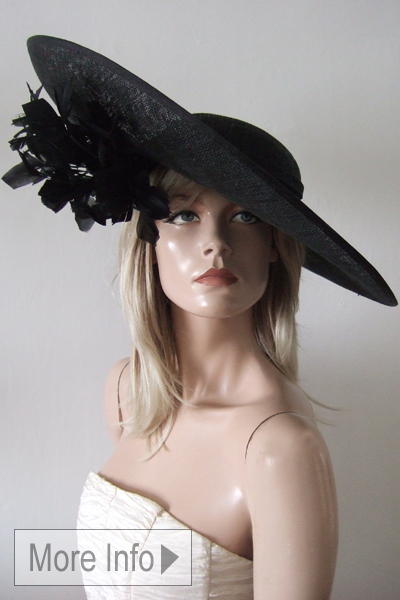 Black Feathered Slice Hat. Hat Hire for Royal Ascot