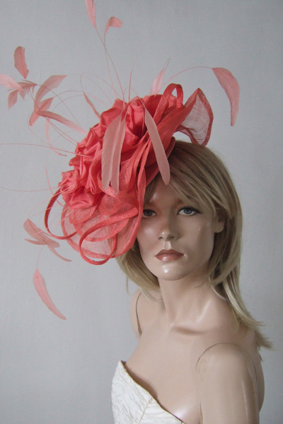 Coral Flower Fascinator Hat for Hire. Ascot Hat Hire, Hats for Royal Ascot, London Hat Hire