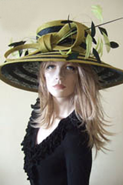 Olive Green Black Ascot Hat. Royal Ascot Hat Hire. Big Ascot Hats