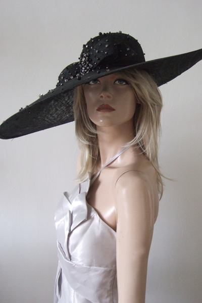 Black Diamontee Detail Big Hat. Royal Ascot Hats 2021. Mother of the Bride Hats 2021.