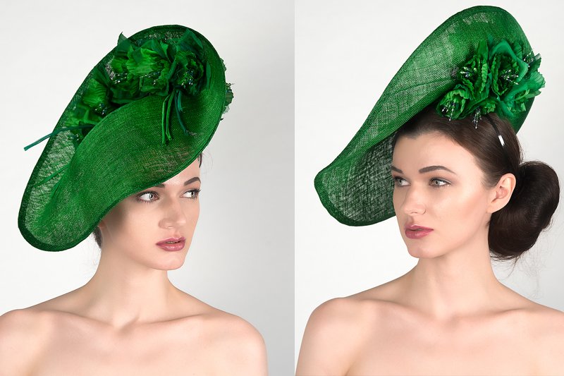 Emerald Green Floral Mother of the Bride Hat, Saucer Fascinator Headpiece