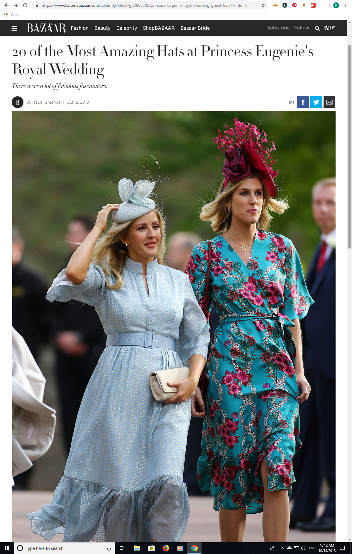 Best Dressed Guests at Princess Eugenies Wedding. What to wear to an Autumn Wedding. Royal Wedding Guests. Wedding Guest Outfits for Autumn Wedding