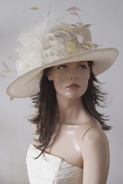 Ivory Side Sweep Ascot Hat. Royal Ascot Hats. Mother of the Bride Hats