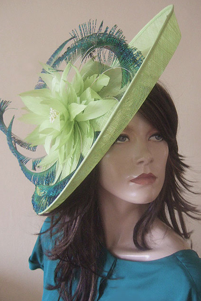 Nigel Rayment Lime Green Saucer Hat for Royal Ascot. Ascot Hats. Hats for Ascot. www.dress-2-impress.com