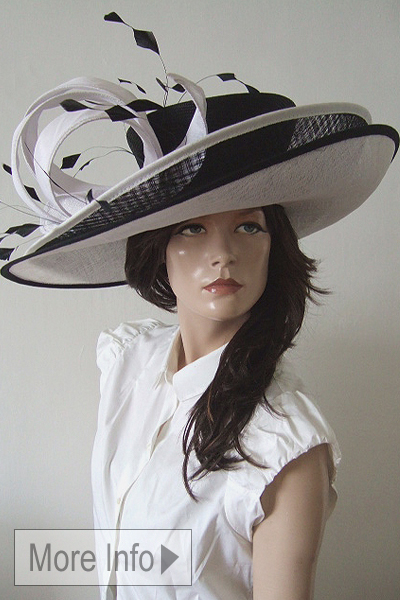 Big Black and White Mother of the Bride Hat 2021. Big Hats for the Races 2021. Hats for Royal Ascot 2021. Hat Hire Berkshire