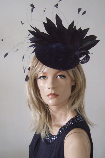Navy Blue Velvet Feathered Fascinator Headpiece for Hire. Mother of the Bride Hats.