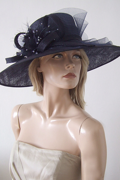 Nigel Rayment Navy Blue Hat with Crystals. Royal Ascot Hat Hire 2021. Mother of the Bride Hats