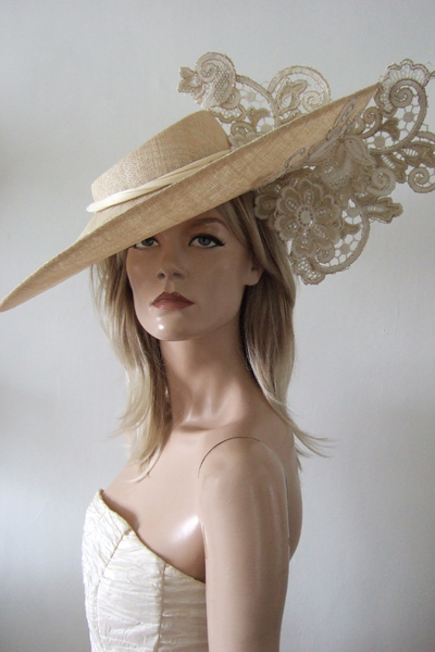 Natural Nude with Gold White Lace Slice Hat. www.dress-2-impress.com Ascot Hat Hire. London Hat Hire. Hats for Ascot. Hats for Ascot Races.