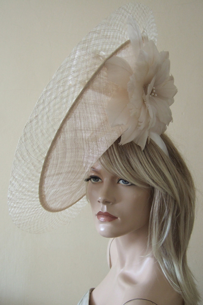 Peter Bettley Oyster Champagne Slice Disc Hat. www.dress-2-impress.com Ascot Hat Hire