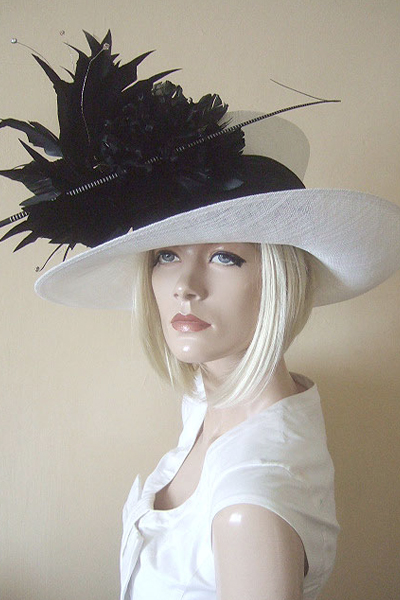 Philip Treacy Hat. Black White Ascot and Mother of the Bride, or Racing Hat. Hats for Royal Ascot. Hat Hire Berkshire