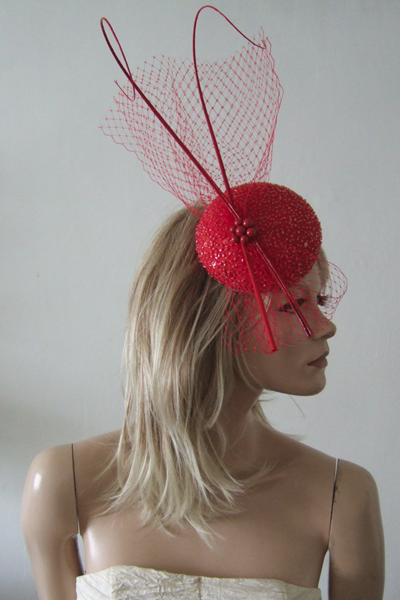 Red Beaded Cocktail Hat. Ascot Hat Hire. Mother of the Bride Hats