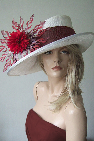 Red Starburt Royal Ascot Hat. Hat for the Races. Hat Hire for Royal Ascot. Mother of the Bride Hat