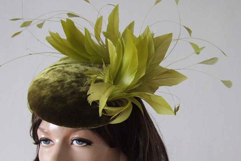 Olive Green Hat, Olive Green Velvet Fascinator, perfect for Winter Mother of the Bride Outfits. What to wear to a winter wedding.