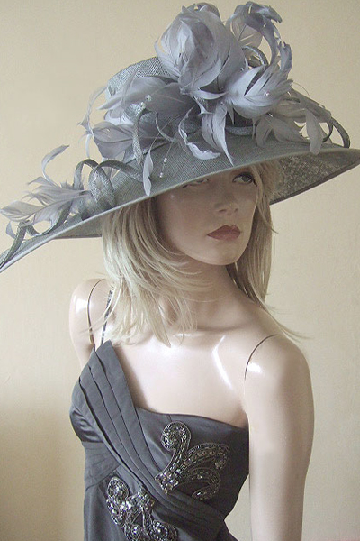 Grey Feathered Ascot Hat. Large Hats for Ascot. Hats for Epsom Races. Hats for Grand National. Hats for York Races.