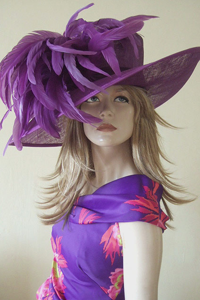 Big Purple Feather Hat for Hire. Ascot Hat Hire, Hats for Royal Ascot, Hats for Epsom