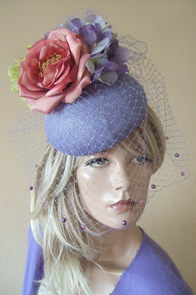Lavender Ochid Pink Headpiece Hat for Hire. Ascot Hat Hire, Hats for Royal Ascot, London Hat Hire