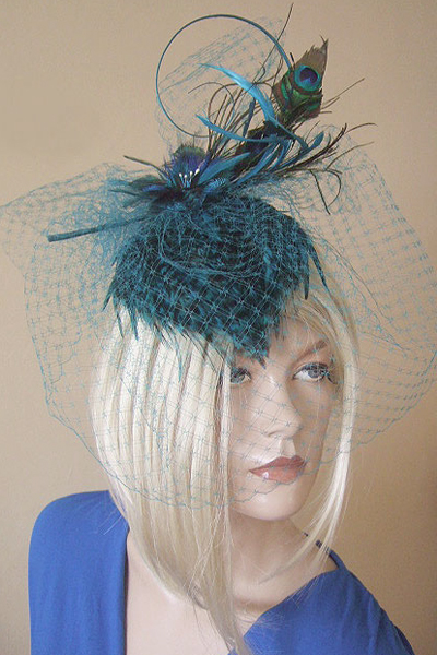 Vivien Sheriff Peacock Fascinator Hat. Ascot Hats. Headpieces for Ascot. Ascot Style Guide
