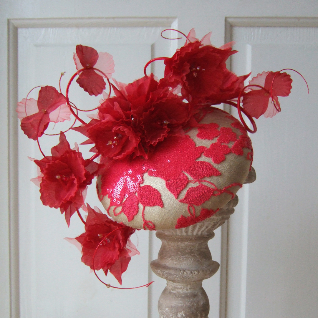 Custom made laced and floral headpiece, cocktail hat.