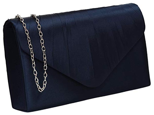 Cheap Navy Satin Clutch Bag. Navy Mother of the Bride Clutch Bag. Navy Satin Clutch Bag for Wedding guests 2021.